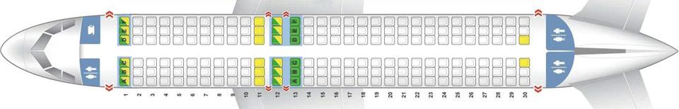Схема компоновки кресел в самолете A320 лоукостера Флай Арыстан